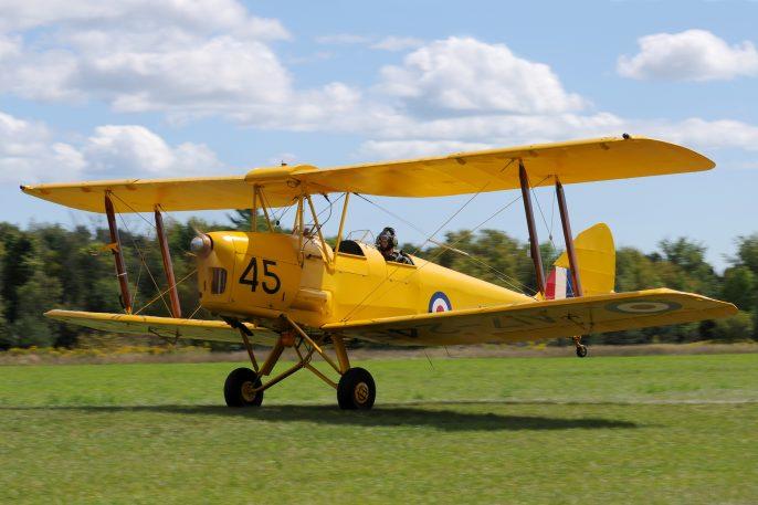 "Architect Robert ""Bob"" Murphy Flying His 1940 de Havilland Tiger Moth"