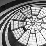 Inside Guggenheim Museum Black and White